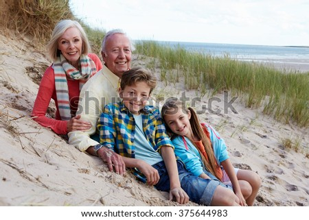 Portrait Of Grandparents With Children Sitting On Beach - stock photo