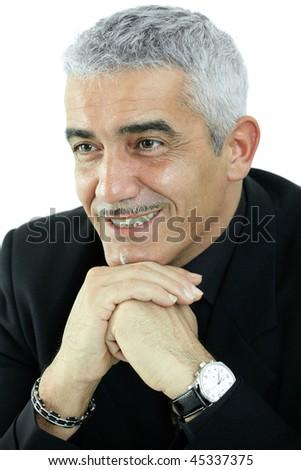 Portrait of grey haired man thinking, smiling. Isolated on white background. - stock photo
