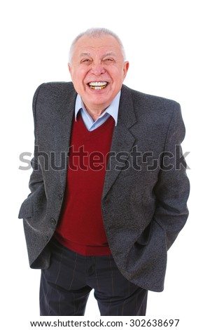 Portrait of grin old senior business man with white teeth smile, dressed in suit, shirt and marsala cardigan, isolated on white background. Human emotions and facial expressions - stock photo