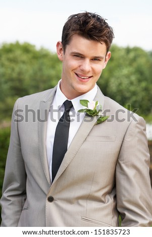 Portrait Of Groom At Wedding - stock photo