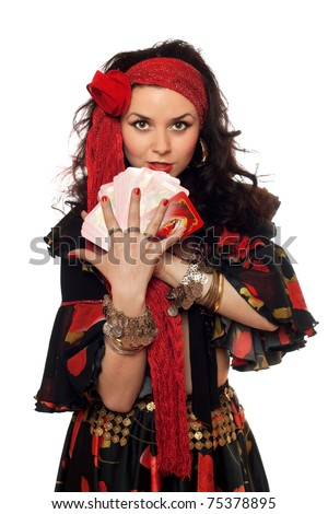 Portrait of gypsy woman with cards. Isolated - stock photo