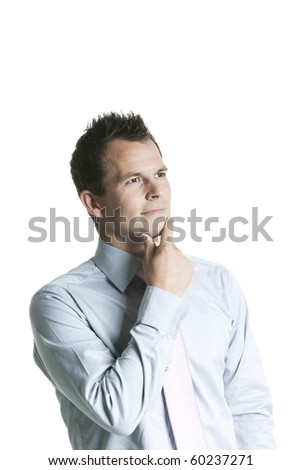Portrait of handsome business day dreaming - Isolated against white - stock photo