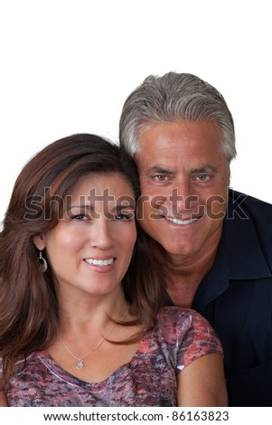 Portrait of handsome couple smiling - stock photo