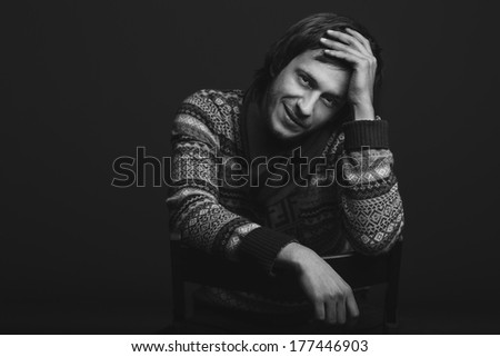 Portrait of handsome fashion male model - stock photo