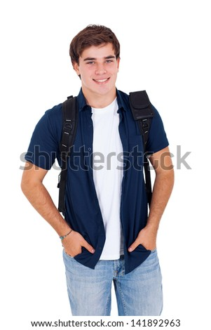 portrait of handsome high school boy posing on white background - stock photo