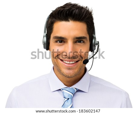 Portrait of handsome male customer service representative wearing headset isolated over white background. Horizontal shot. - stock photo