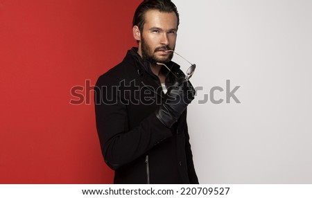 Portrait of handsome man - stock photo