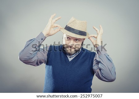 Portrait of handsome man in hat - stock photo
