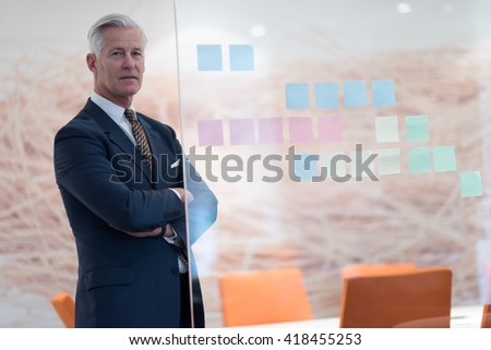 portrait of handsome senior business man at modern office meeting room interior - stock photo