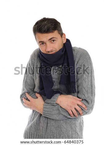 Portrait of handsome sick man in scarf. isolated on white background - stock photo