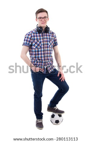portrait of handsome teenage boy with soccer ball isolated on white background - stock photo