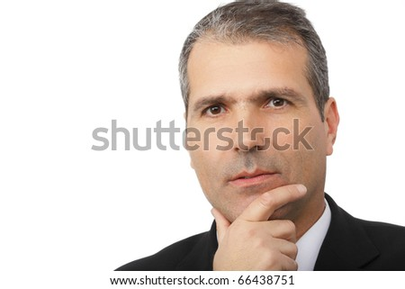 Portrait of handsome thoughtful businessman isolated on white background - stock photo