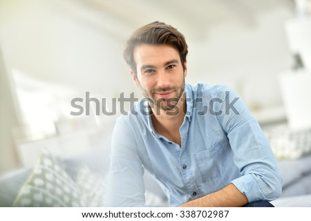 Portrait of handsome 30-year-old man - stock photo