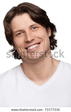 Portrait of handsome young man smiling, isolated on white - stock photo
