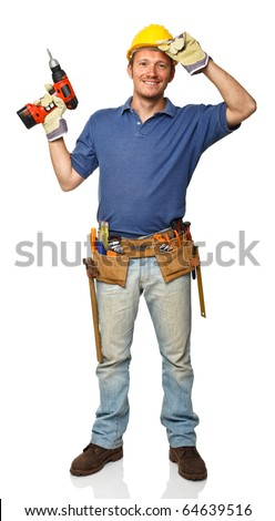 portrait of handyman holding red drill isolated on white - stock photo