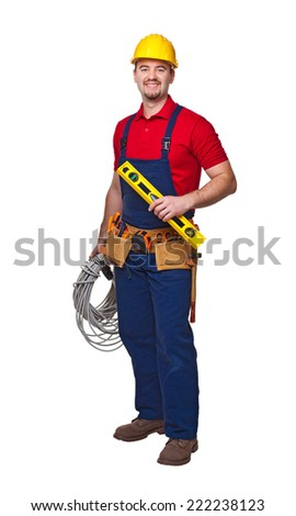 portrait of handyman with cable isolated on white - stock photo