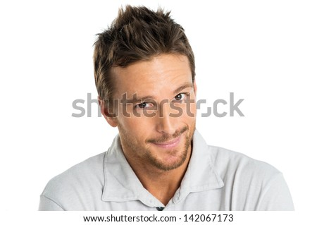 Portrait Of Happy Adult Man Smiling Isolated On White Background - stock photo