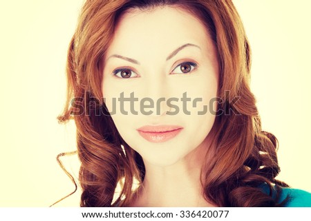 Portrait of happy adult woman - stock photo