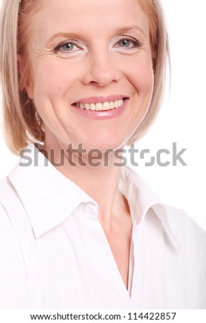 Portrait of happy aged woman over white background - stock photo
