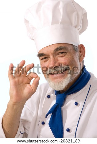 Portrait of happy attractive cook on the white background - stock photo