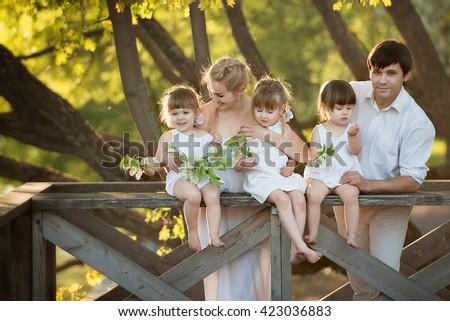 Portrait Of Happy  big Family In Garden - stock photo