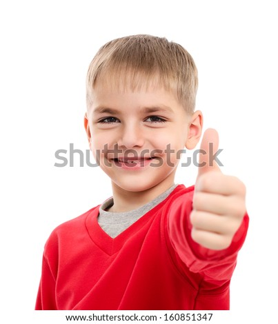 Portrait of happy boy showing thumbs up gesture, isolated over white background - stock photo