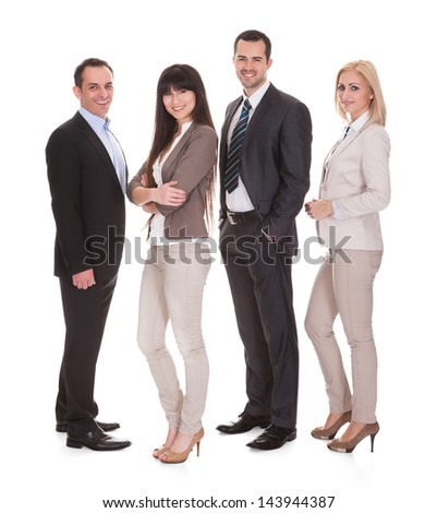 Portrait Of Happy Businesspeople Group Over White Background - stock photo