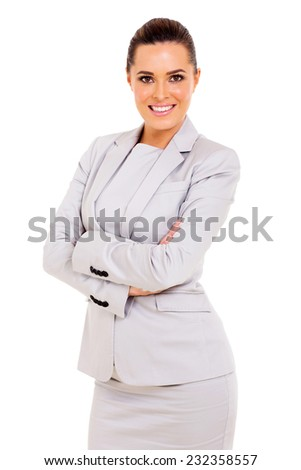 portrait of happy businesswoman isolated on white background - stock photo
