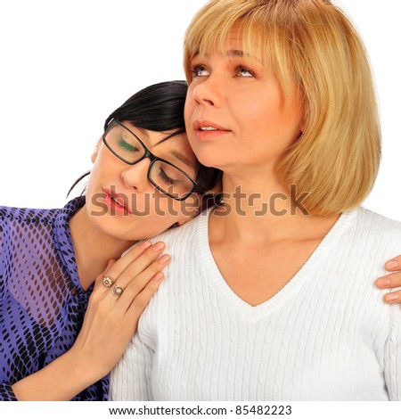 Portrait of happy calm european family of mother and her daughter isolated on white background - stock photo