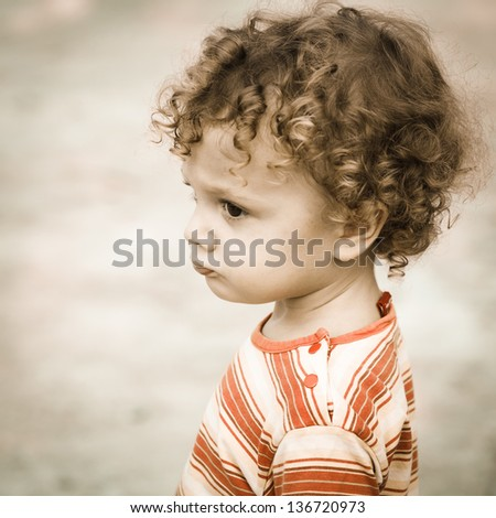 Portrait of happy child - stock photo