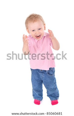 Portrait of happy child isolated on white background, top view - stock photo