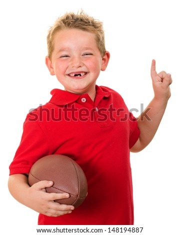 Portrait of happy child with football isolated on white - stock photo