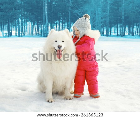 Portrait of happy child with white Samoyed dog in winter day - stock photo