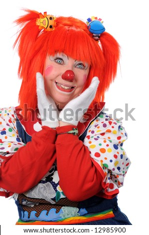 Portrait of happy clown - stock photo