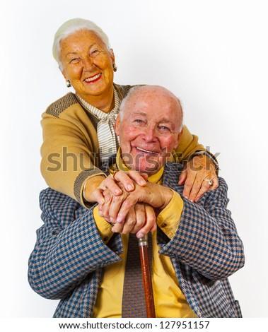portrait of happy elderly senior couple - stock photo