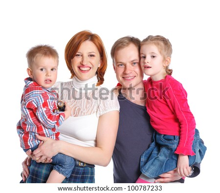 Portrait of happy family smiling at the camera. Isolated over white. - stock photo