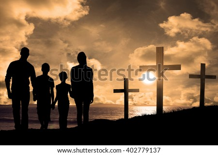 Portrait of happy family walking over white background against cross religion symbol shape over sunset sky - stock photo