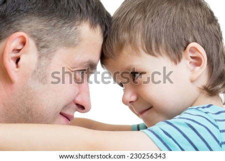 Portrait of happy father and his son - stock photo