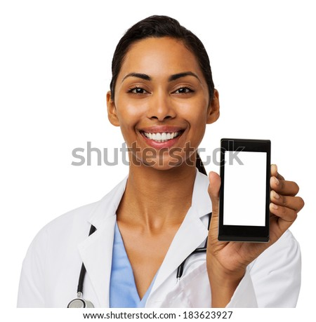 Portrait of happy female doctor promoting smart phone against white background. Horizontal shot. - stock photo