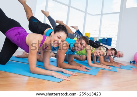 Portrait of happy fit people exercising on fitness mats at gym - stock photo