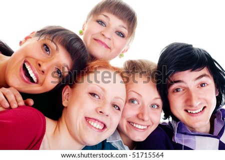 portrait of happy friends. isolated on white background - stock photo