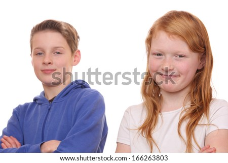 Portrait of happy girl and boy on white background - stock photo