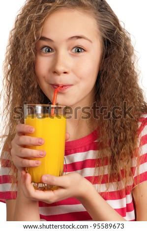 Portrait of happy girl with orange juice isolated on white background - stock photo