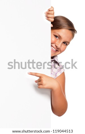 Portrait of happy girl with white blank isolated on white background - stock photo