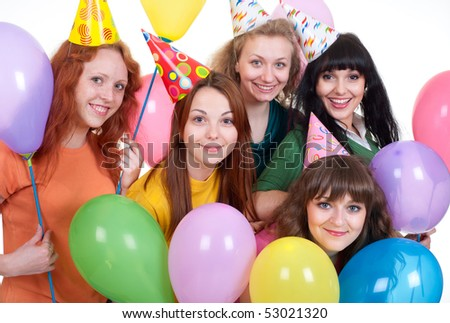 portrait of happy girls with balloons over white background - stock photo