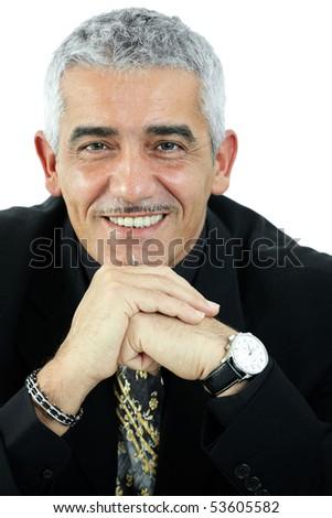 Portrait of happy grey haired man thinking, smiling. Isolated on white background. - stock photo
