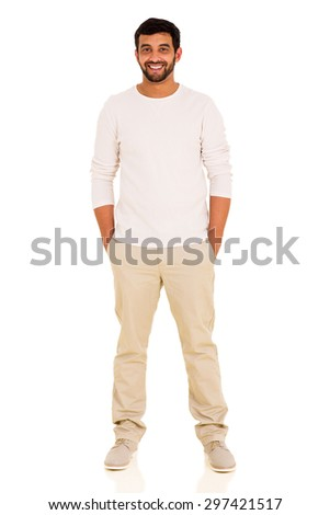 portrait of happy indian man on white background - stock photo