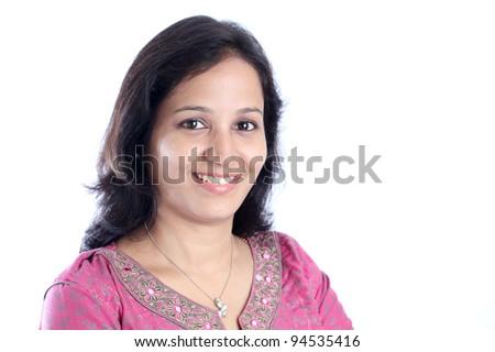Portrait  of  happy indian woman - stock photo