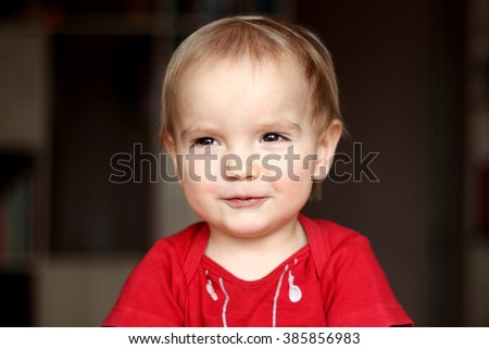 Portrait of happy joyful beautiful little boy, happy childhood concept - stock photo