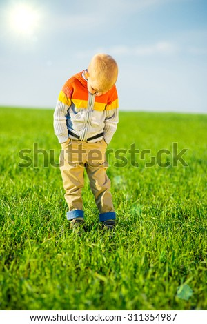 Portrait of happy joyful beautiful pointing little boy outdoor at countryside. Green field and summer concept. - stock photo